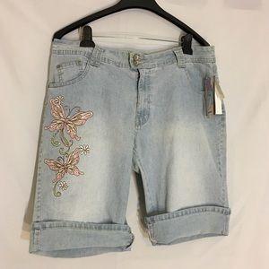 Angels Bermudas Blue Embroidered Bermuda Shorts